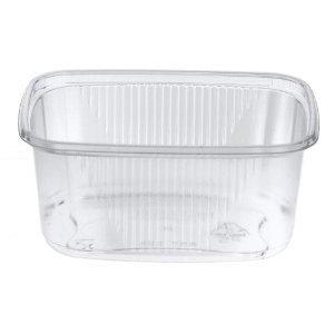 50 Verpackungsbecher mit Deckel, eckig 250 ml 4,9 cm x 8,2 cm x 10,8 cm klar Feinkostbecher - 1