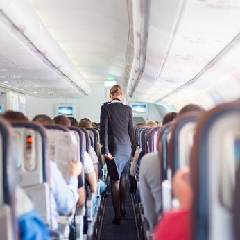 In einer Flugzeugkabine